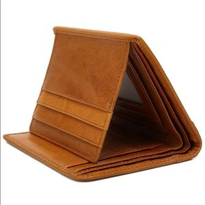 Mens Slim Genuine Leather Trifold Wallet